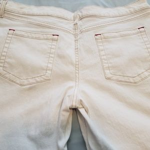 Mossimo Supply Co. Jeans - Mossimo White Crop Stretch Jean's with Red Thread